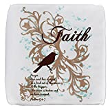 13 Inch 6-Sided Cube Ottoman Faith Prayer Dove Christian Cross