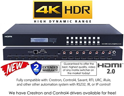 8x8 HDMI 2.0 HDR 4K 60HZ MATRIX SWITCHER YUV 444 HDCP2.2 HDTV ROUTING SELECTOR SPDIF AUDIO CRESTRON CONTROL4 SAVANT HOME AUTOMATION (8x8 HDMI (4x4 Hdtv Matrix)