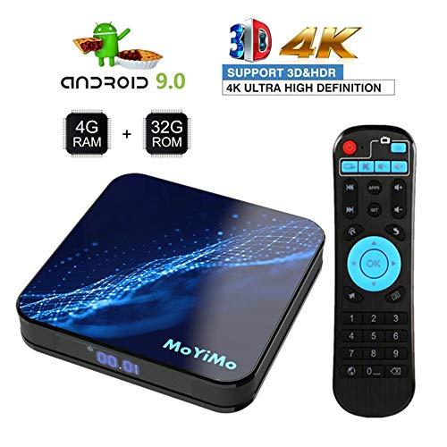 Smart Android 9.0 TV Box Dual-Wifi 2.4G/5G Smart TV Box 4GB RAM 32GB ROM Quad Core Support 3D/4K Full HD H.264 Wifi TV…