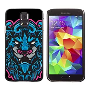 Licase Hard Protective Case Skin Cover for Samsung Galaxy S5 - Cool Neon & Blue Tiger Illustration