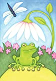 Toland Home Garden Little Green Frog 28 x 40 Inch Decorative Colorful Spring Summer Dragonfly Flower House Flag