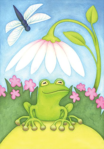 Toland Home Garden Little Green Frog 28 x 40 Inch Decorative Colorful Spring Summer Dragonfly Flower House Flag by Toland Home Garden