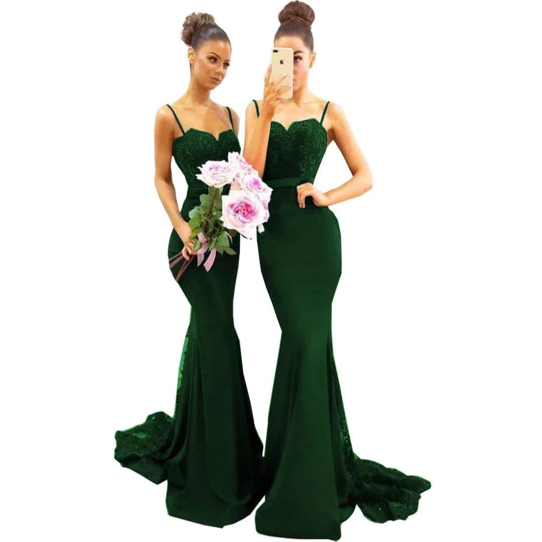Deep Green Sulidi Women's Mermaid Bridesmaid Dresses Long 2019 Spaghetti Straps Sweep Train Lace Beads Prom Dress C025