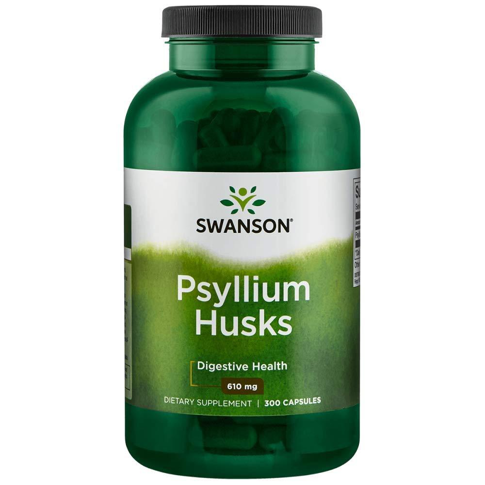 Swanson Psyllium Husk Digestive Weight Colon Health Dietary Fiber Supplement 610 mg 300 Capsules (Caps) by Swanson