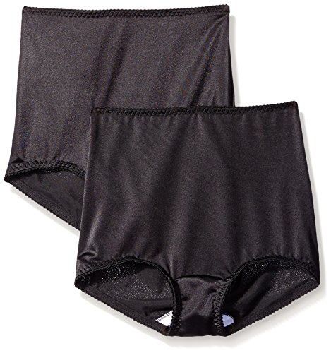 Hanes Shapewear Women's Light Control 2 Pack Shaping Brief, Black, (Control 2 Pack Brief)