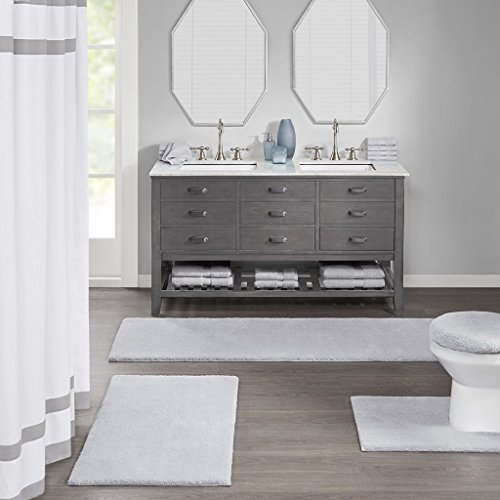MADISON PARK SIGNATURE Marshmallow Bath Rug Collection Grey 24x72