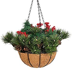 Mixiflor 10 Inch Christmas Hanging Baskets, Frosted Berry Hanging Basket with Red Berries for Home Indoor or Outdoor Christmas Decor 76