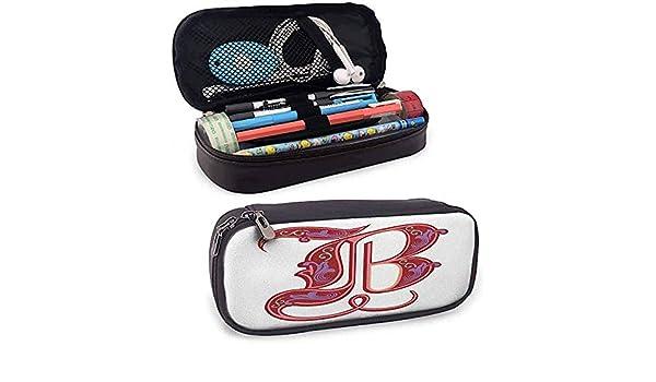 Letra B Estuche de lápices Colorido Diseño suave Símbolo en mayúscula B Segunda letra Alfabeto Abstracto Gótico: Amazon.es: Oficina y papelería