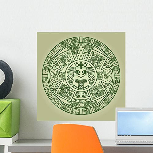 Wallmonkeys Stylized Aztec Calendar Wall Decal Peel and Stick Graphic WM346622 (18 in H x 18 in W) ()