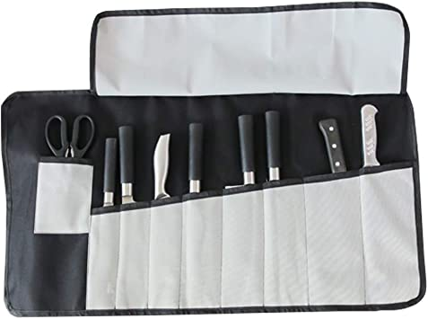 Fushida Estuche para cuchillos de chef, 10 compartimentos, resistente bolsa de lona para cuchillos, bolsa de almacenamiento impermeable para caza, senderismo, camping, tamaño (W:73cm * H:39 cm): Amazon.es: Deportes y aire libre