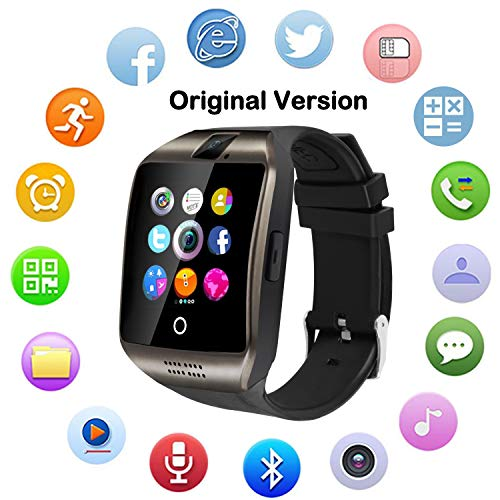 Camera Phone Cell Watch (Upgraded Large Screen Smart Watch with Camera, Waterproof Touch Screen Smartwatch with SIM Card Slot, Unlocked Watch Cell Phone for Android/iOS Phones (Black))