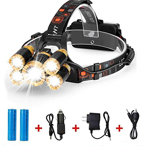 Brightest and Best LED Headlamp 10000 Lumen flashlight- IMPROVED CREE LED Rechargeable 18650 headlight flashlights Waterproof Hard Hat Light, Bright Head Lights Camping Running headlamps by Bezesiz