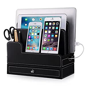 For RAVPower 60W 12A 6-Port USB Charging Docking Stand,EasyAcc Double-deck Multi-device Charging Station Stand for all iphones/galaxy/Tablets and iPhone Xs max Xr/tab s4 10.5/ipad pro Leather Organiza