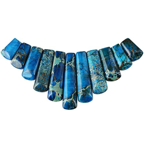 Gemstone Graduated Necklace (SUNYIK Blue Sea Sediment Jasper Loose Bead,for Jewelry Makings,Bar Shileds Stone,11Pcs/Set)