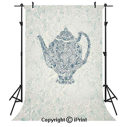 Kitchen Decor Photography Backdrops,Mandala Teapot Vintage Style Design Floral Background Ornamental Lace Leaf Pattern Art,Birthday Party Seamless Photo Studio Booth Background Banner 6x9ft,Blue White