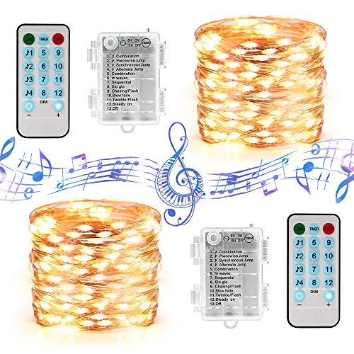 BrizLabs Music Sync Fairy Lights, 19.47ft 60 LED String Lights, 12 Modes Battery Light String with Remote Timer WaterproofTwinkle Lights for Indoor Outdoor Bedroom Wedding Party, Warm White, 2 Pack