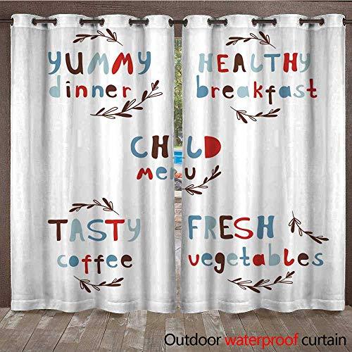 Dinner Balance (Outdoor Balcony Privacy Curtain Modern Vector Alphabet Stylish Lettering Dinner Breakfast W84 x L108)