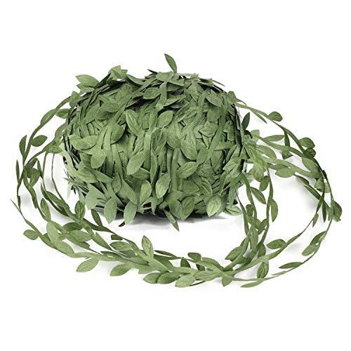OOTSR Artificial Vines, 262ft Fake Plant Vine Leaves Olive Green Leaf Trim Ribbon for Wedding/Party/Home/Garden Decoration & Garland DIY ()