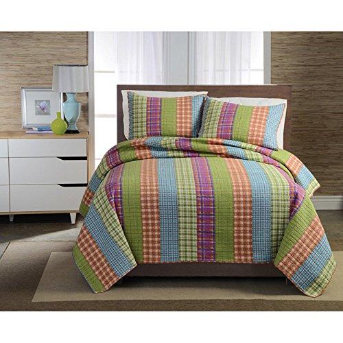 Pem America Bright Plaid Stripe Quilt Mini Set, Twin