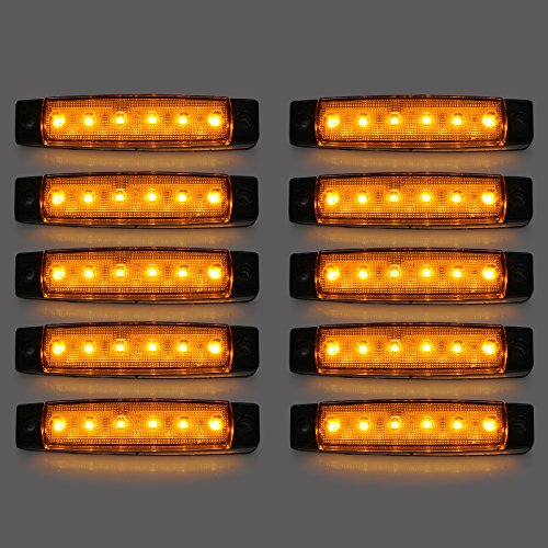 AUTOUTLET 10PCS 6LED Amber Front Side Marker Indicator Light Orange Truck Trailer Lamp: Computers & Accessories
