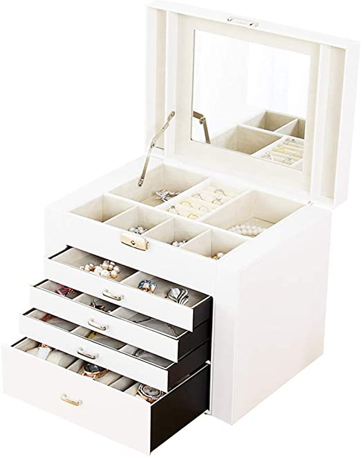 J.Mmiyi Joyero Cuero Caja Joyas Cajon Diseño para Pendientes ...