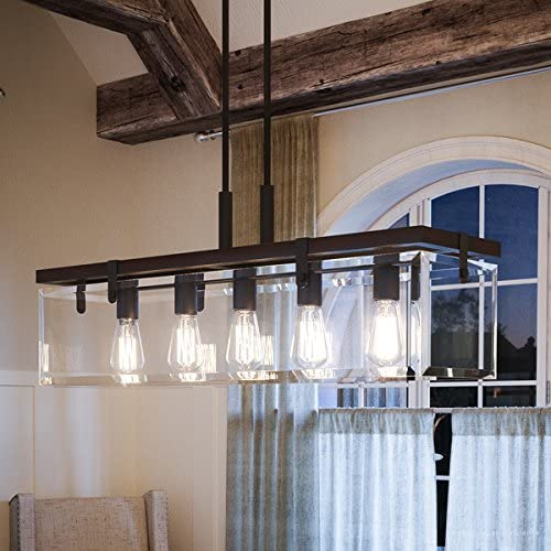 Luxury Modern Farmhouse Chandelier, Large Size 15.75 H x 36.75 W, with Industrial Chic Style Elements, Olde Bronze Finish and Clear Shade, UHP2440 from The Bristol Collection by Urban Ambiance
