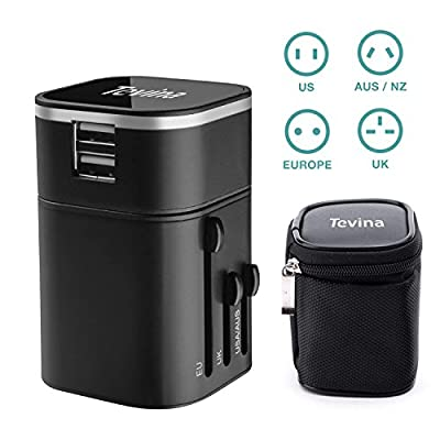 Travel Charger - Tevina Two USB Ports Universal World Wide All-in-one Safety Travel Charger Wall Charger Adapter Plug Built-in 2.1A Dual USB Ports For Home Use-Safety Fuse Protection