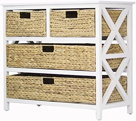 Heather Ann Creations Vale Collection Bohemian Storage Dresser With Four Removable Basket Drawers, Wicker Finish, White Wicker