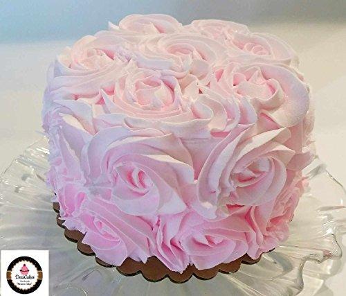 Dezicakes Fake Cake 6'' Pretty Pink Rosette Cake- fake unedible prop by Dezicakes