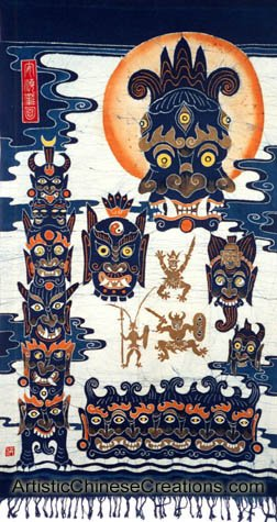 Chinese Wall Decor / Chinese Crafts: Large Chinese Batik Wall Hanging - Totem