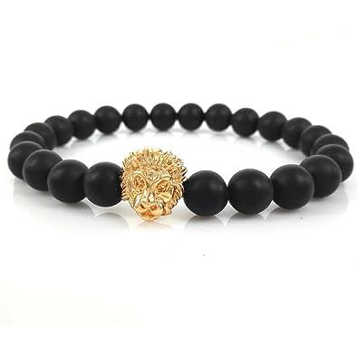 b8920a1b03f Amazon.com: Lion Bracelet with 8mm Black Onyx Gemstone Bead 24kt Golden  Stretchable Fits Men Women: Jewelry