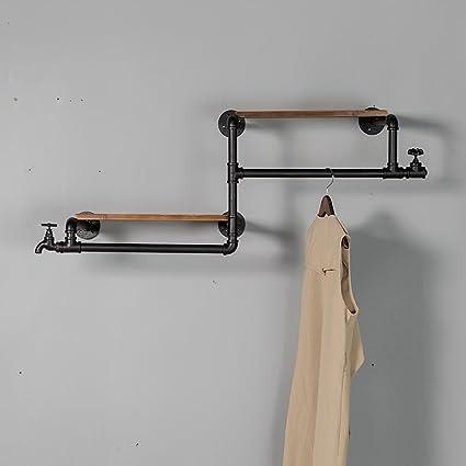 MEHE @ Moda creativa Perchero de madera maciza Perchero de hierro colgador de pared Decoración de