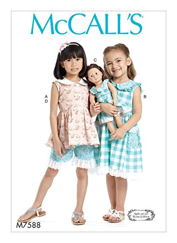 (MCCALLS M7588 Girls' Peter Pan Collar Button-Front Top, Dress, Shorts, and Doll Dress (SIZE 6-8) SEWING PATTERN)