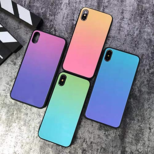 for iPhone X/Xs, iPhone Xs Max, iPhone XR Mirror Glossy Color Changing Color Fading Shockproof & Shatterproof Supreme Hypebeast iPhone Case (Peach, iPhone -