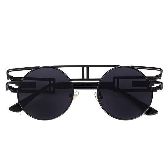 ea34f90cb68 Amazon.com  VeBrellen Men Gothic Sunglasses Reflective Flash Mirror Lens  Vintage Women Steampunk Round Sunglasses (Black Frame With Gray Lens