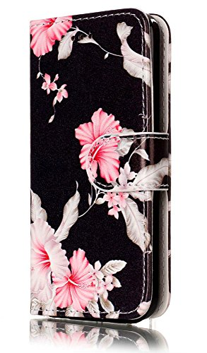 iPhone 5C Case, iPhone5C Wallet Case, 5C Case,JanCalm Flower Pattern Premium PU Leather Wallet [Card/Cash Slots] Stand Magnetic Flip Folio Case Cover for Apple iPhone 5C + Crystal Pen (Black/Flower)