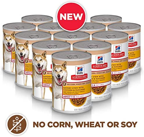 Hill s Science Diet Canned Wet Dog Food, Adult, No Corn, Wheat or Soy Recipes, 12.8 oz Cans, Pack of 12