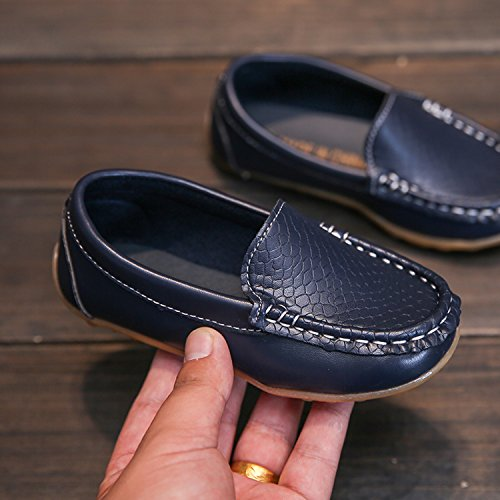 L-RUN Boy's Girl's Leather Loafers and Slip-On Boat-Dress Shoes/Sneakers Navy 2 M US Little Kid by L-RUN (Image #2)