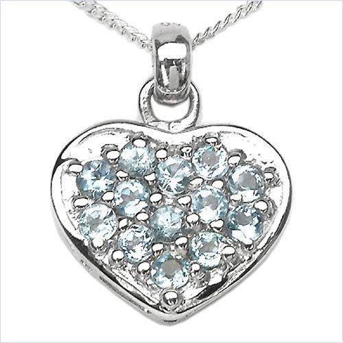 Bijoux Schmidt-Collier avec pendentif coeur bleu topaze 0,78 carats