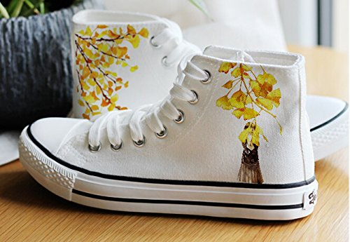 Watercolour Painting Figure Women girls Shoes Canvas Sneakers white3 kz0mIo
