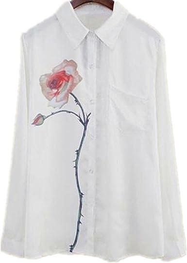 Culater® Camisa Mujer, Manga Larga de Flores de Rosa Blusa Voltear La V-Cuello: Amazon.es: Ropa y accesorios