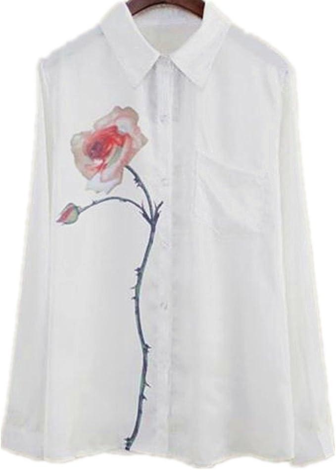 Culater® Camisa Mujer, Manga Larga de Flores de Rosa Blusa Voltear ...