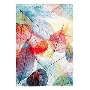 Pergamon Faro - Alfombra de diseño Tropical Hojas de Colores - 5 tamaños