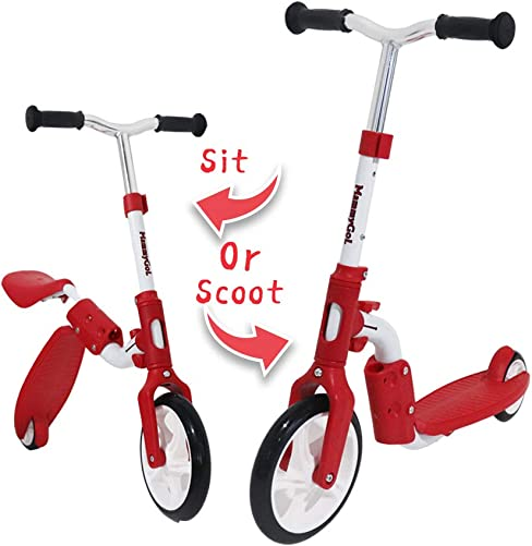 MammyGol 2-in-1 Scooters for Kids with Folding Removable Seat – Adjustable Height Kick Scooter for Toddlers Boys and Girls 2-12 Years Old – Fun Outdoor Toys, Zero Assembly
