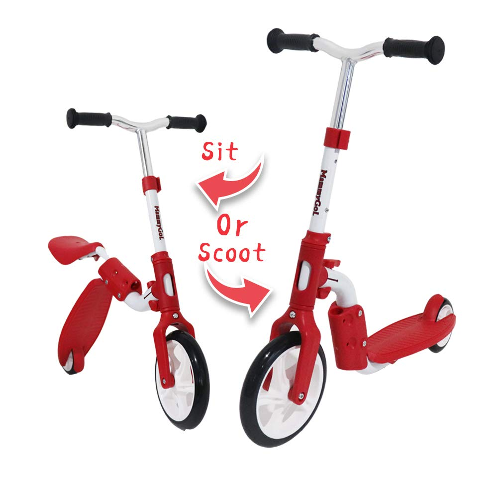 SHAREWIN 2-in-1 Kick Scooter,Balance Bike with Removable Seat Great for Kids Red by SHAREWIN
