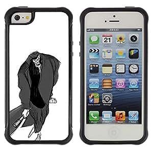 Suave TPU GEL Carcasa Funda Silicona Blando Estuche Caso de protección (para) Apple Iphone 5 / 5S / CECELL Phone case / / Man Bat Pencil Drawing Art Zombie Cartoon /