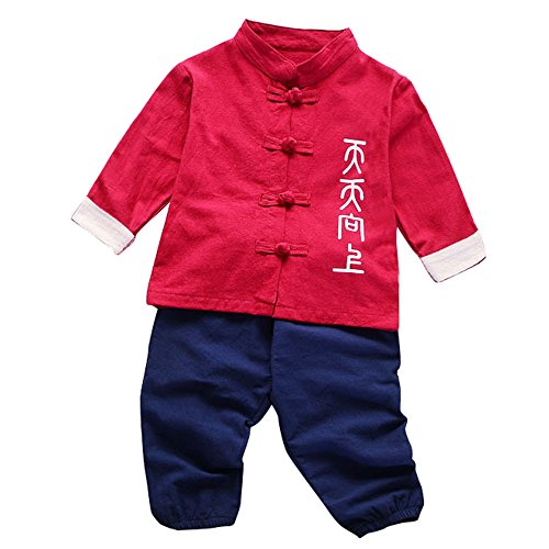 JIANLANPTT 2pcs Baby Kids Boys Pants Set Casual Long Sleeve Chinese Style Kung Fu Outfits Red - Clothes Chinese Fu Pants Kung