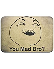 Troll Face You Mad Bro Humor Smile Face Soft Doormat Entrance Mat Floor Mat Rug Indoor/Outdoor/Front Door/Bathroom Mats Rubber Non Slip