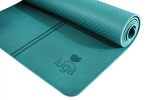 "IUGA Non Slip Yoga Mat, Exclusive Alignment line for Proper Positioning, Bonus Yoga Mat Strap, Eco Friendly TPE Material - Excellent Cushion and Lightweight, size 72""X26"" Thickness 7mm"