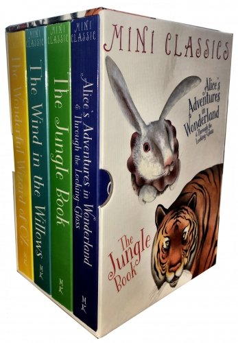Classics Full Colour - 4 Books Deluxe Edition Box Set - (The Wonderful Wizard Of OZ, Wind In The Willows, Jungle Book, Alice Adventures In Wonderland and Through The Looking - Frank Glasses & Alice